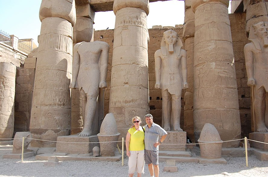 Luxor temple Egypt directly on the banks of the Nile